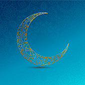 Ramadan Kareem greeting design illustration. Golden ornamental half moon on the blue gradient background. Vector EPS 10