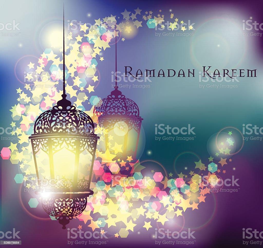 Ramadan kareem greeting on blurred background illuminated arabic ramadan kareem greeting on blurred background illuminated arabic lamp royalty free ramadan kareem greeting on m4hsunfo