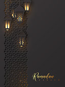 Ramadan Kareem greeting poster. 3d paper cut hanging lanterns with pattern in traditional islamic style. Design for greeting card, banner or poster. Vector illustration.