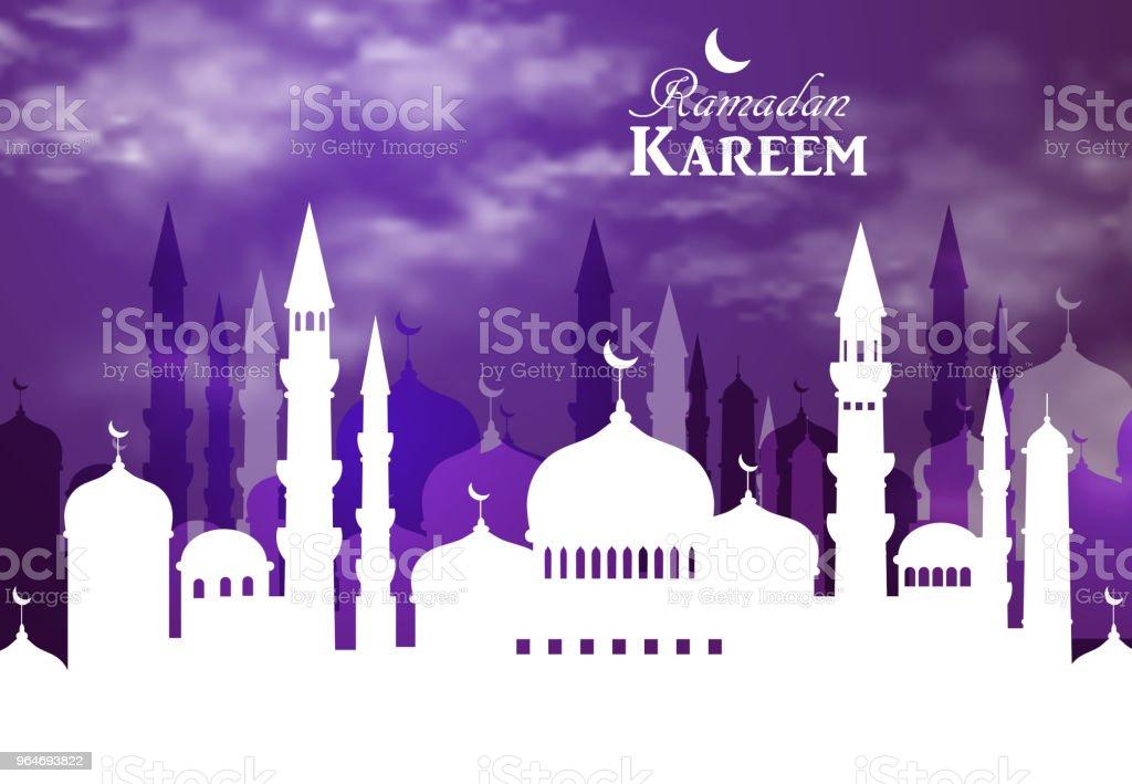 Ramadan Kareem greeting with mosque royalty-free ramadan kareem greeting with mosque stock vector art & more images of arabia