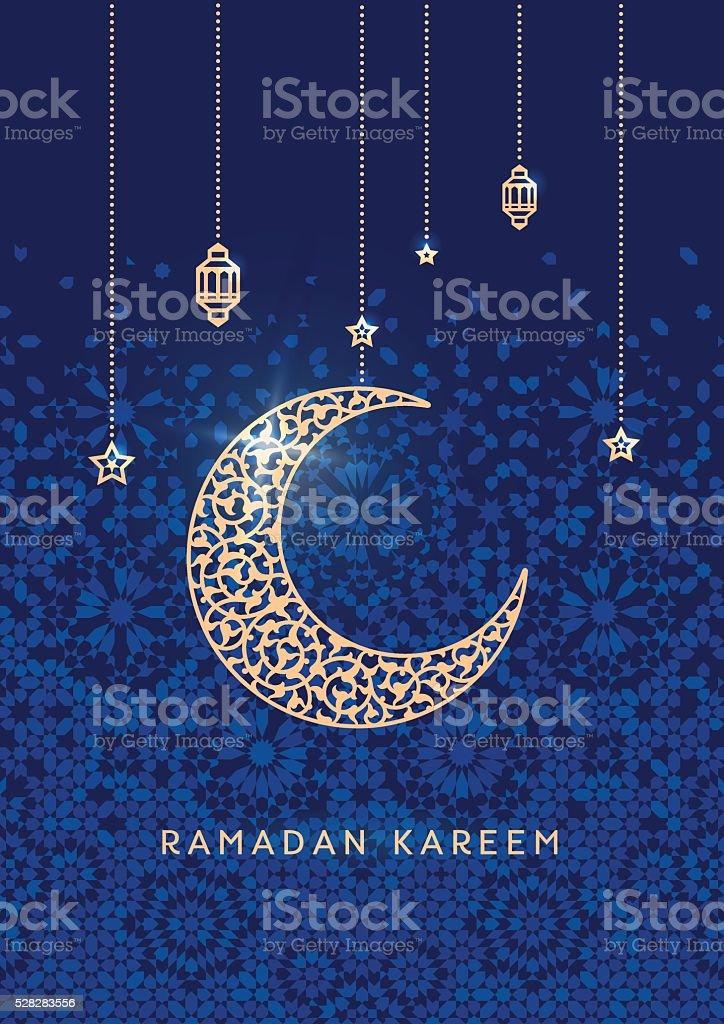 Ramadán Kareem tarjeta de Saludos - ilustración de arte vectorial
