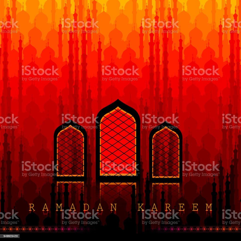 Ramadan Kareem Greetings for Ramadan background with Islamic Mosque vector art illustration
