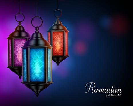 Ramadan Kareem Greetings with Colorful Set of Lanterns or Fanous