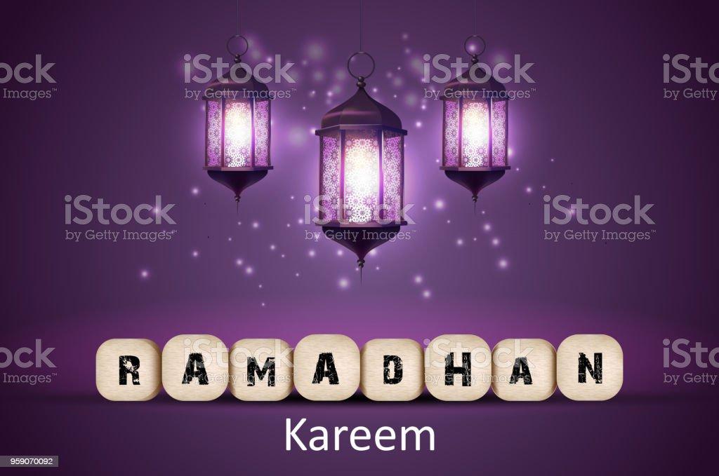 ramadan kareem greetings with lanterns in a glowing background stock