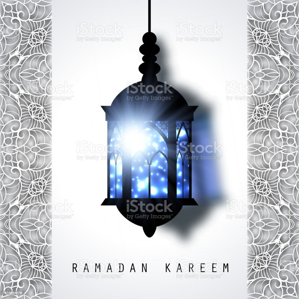 Ramadan Kareem holiday celebration beautiful greeting card background. Islamic celebration design. Arabic lamp. Lantern