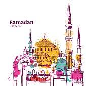 Ramadan Kareem holiday design. Watercolor sketch illustration of mosque. Vector ramadan holiday watercolor background. Greeting card or banner for muslim ramadan holiday.
