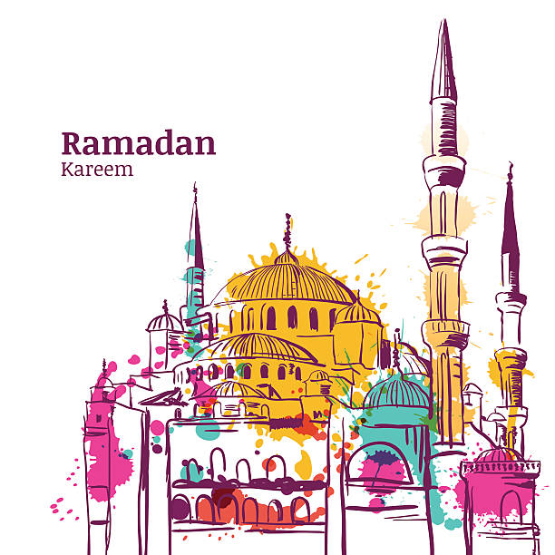 Ramadan Kareem holiday design. Watercolor sketch illustration of mosque. vector art illustration