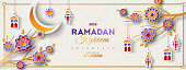 Ramadan Kareem Horizontal Banner with Frame. Vector illustration. Islamic Lanterns, Moon and 3d Paper cut Flowers. Place for your Text.