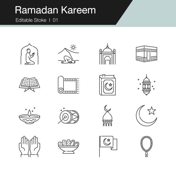 ilustrações de stock, clip art, desenhos animados e ícones de ramadan kareem icons. modern line design. for presentation, graphic design, mobile application, web design, infographics, ui. editable stroke. - cora��o