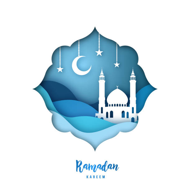 ramadan kareem illustration with arabic origami mosque, crescent moon and stars. paper cut style. vector background. - ramadan stock illustrations, clip art, cartoons, & icons