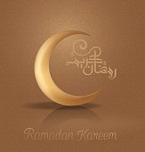 Vector illustration of Ramadan Kareem in Arabic Calligraphy greeting card with golden islamic crescent moon and arabic patterns