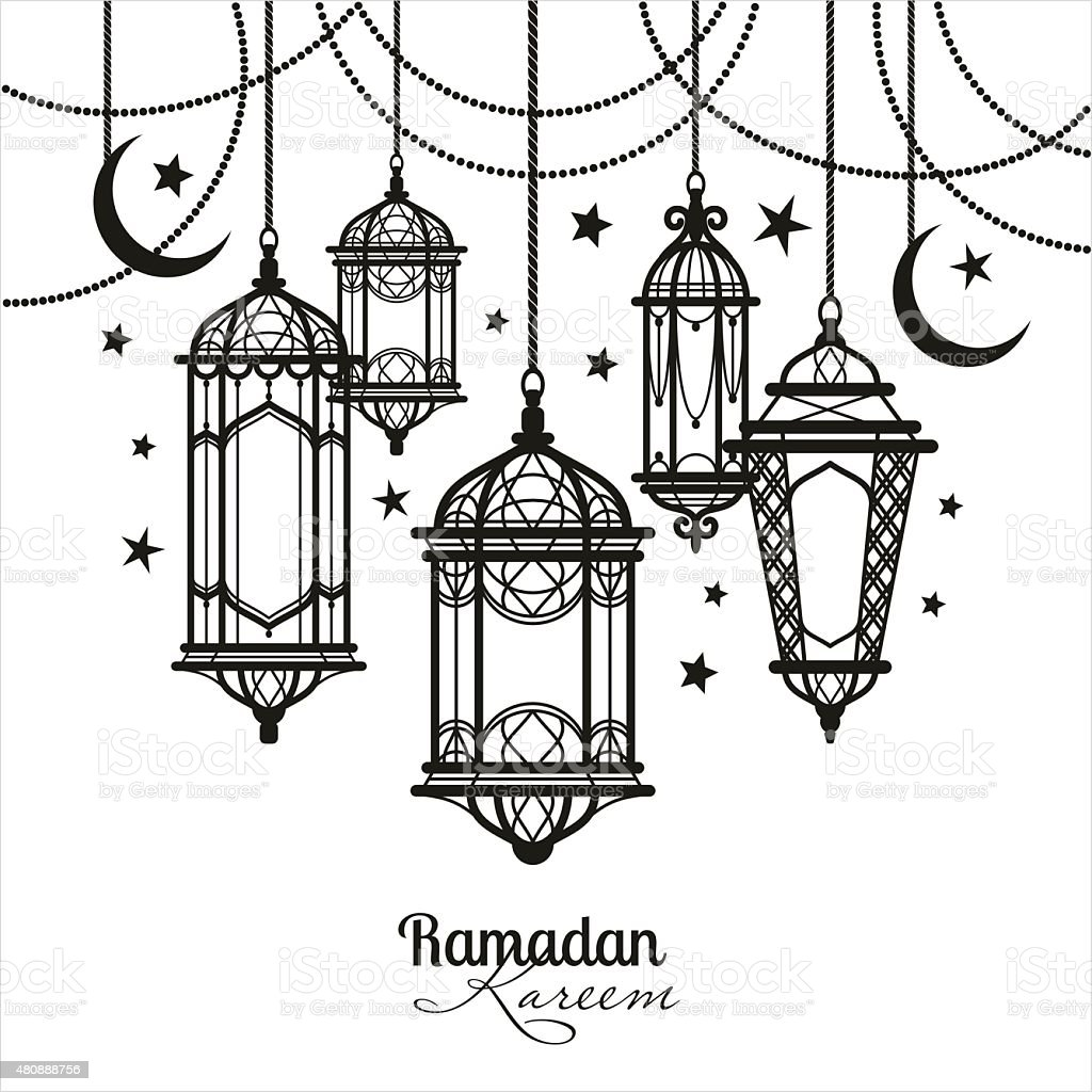 Ramadan Kareem Islamic Background Stock Vector Art  for Ramadan Lamp Drawing  34eri