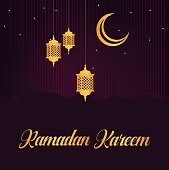Ramadan Kareem card design vector template. Islamic greeting card illustration with lamps and crescent moon icons in gold, on a purple background.