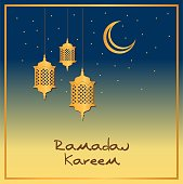 Ramadan Kareem Islamic Greeting Card Design with Arab Lanterns and Crescent Moon in the Night Sky with Stars. Blue and Gold Vector illustration.