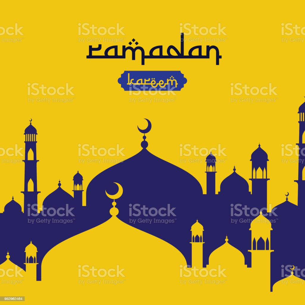Ramadan Kareem Islamic Greeting Design With Dome Mosque Element In