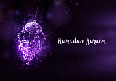 Ramadan Kareem Islamic holidays. greeting card. lamps on a blurred background arches. On bokeh arch interior background. Card design template. Traditional arabic poster card object