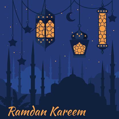 Ramadan Kareem Islamic Holy Nights, Ramadan latern, saint fest
