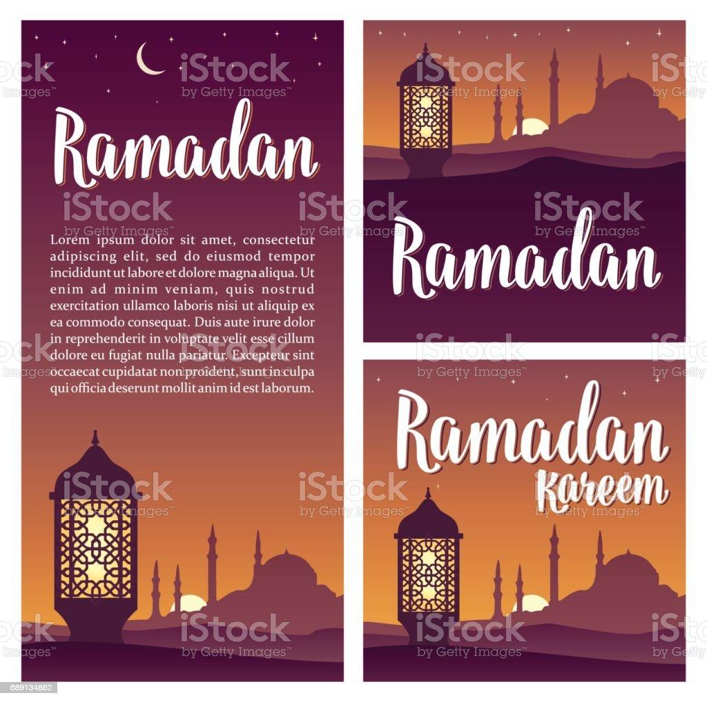Ramadan kareem lettering with lamp, minarets, crescent, star in sky. vector art illustration