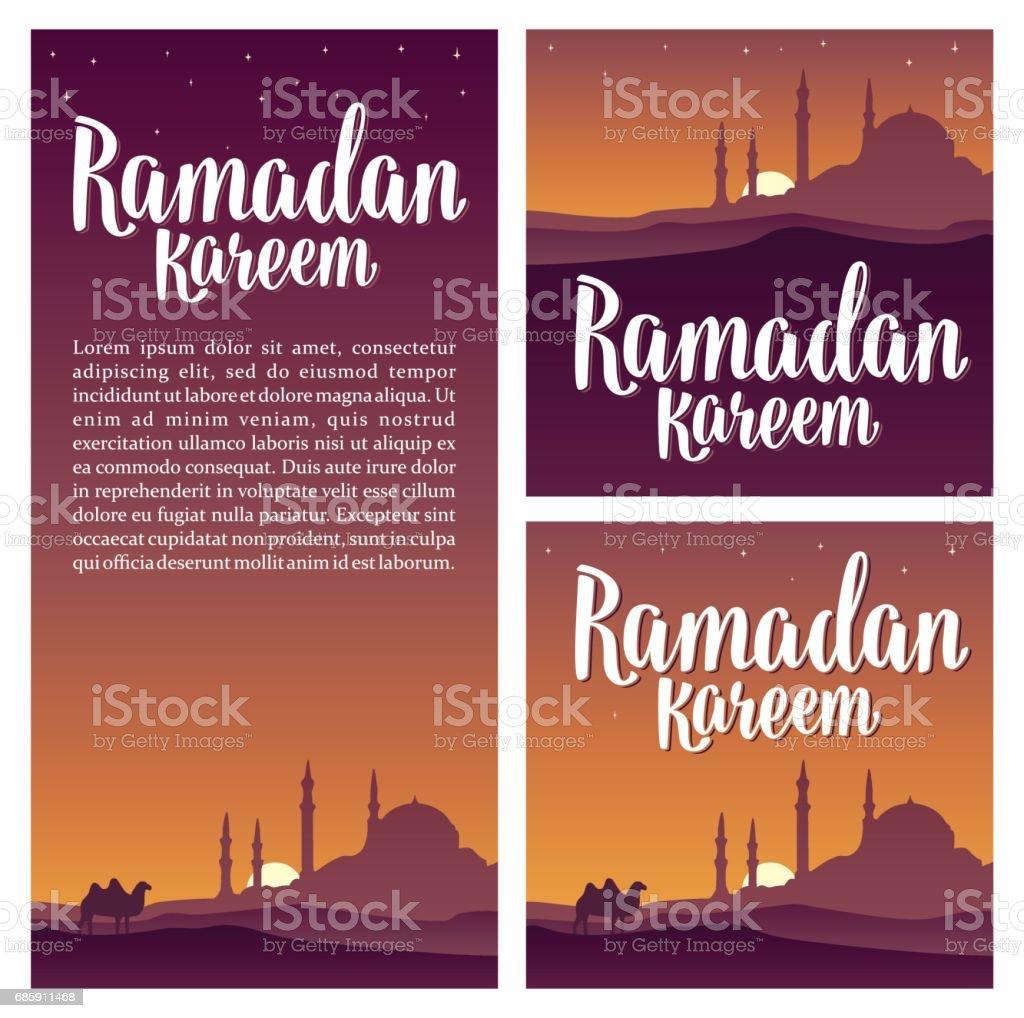 Ramadan kareem lettering with minarets, crescent, star in night sky. vector art illustration
