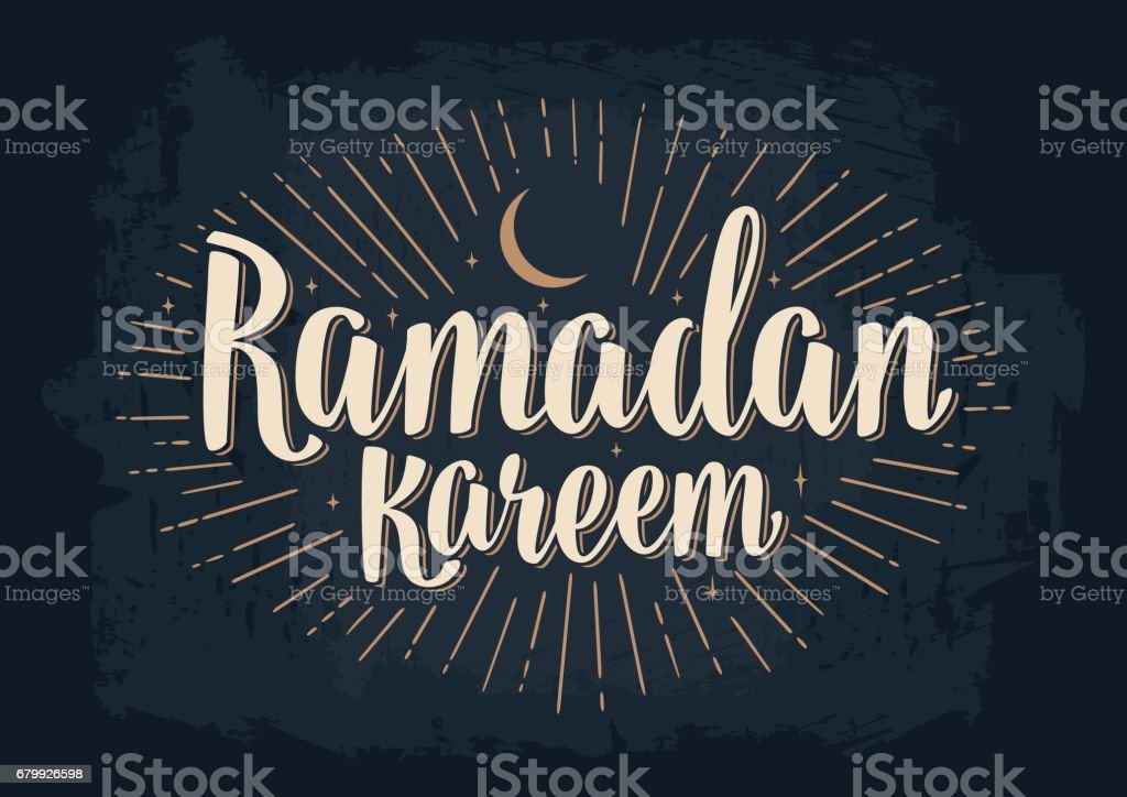 Ramadan kareem lettering with rays, moon and stars vector art illustration