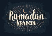 Ramadan kareem lettering with rays, moon and stars