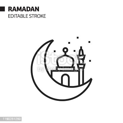 Ramadan Kareem Line Icon, Outline Vector Symbol Illustration. Pixel Perfect, Editable Stroke.
