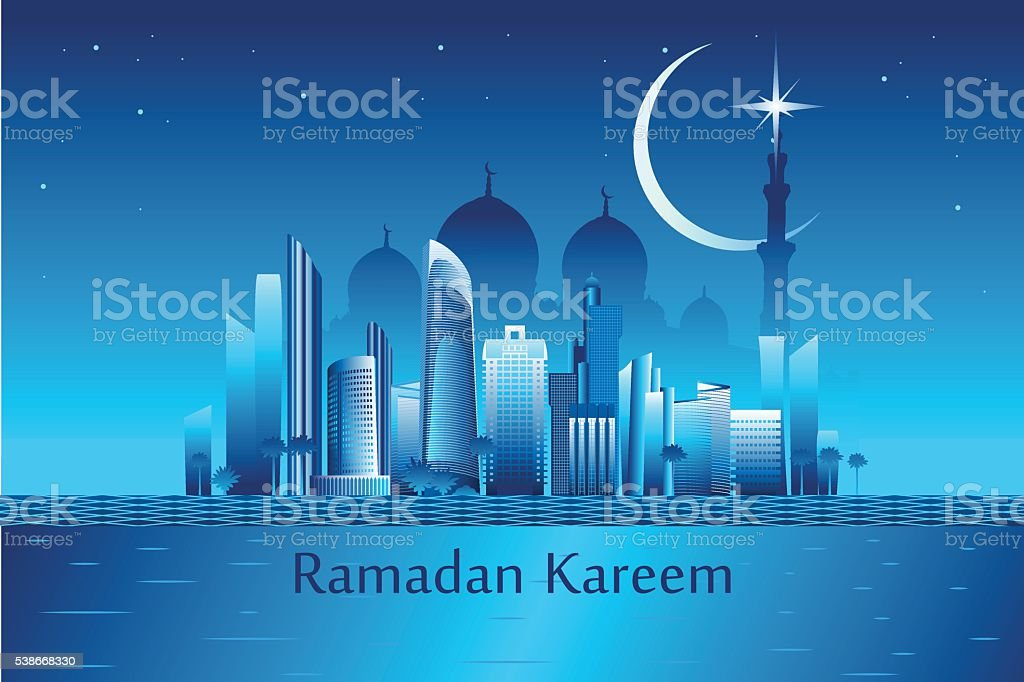 Ramadan kareem message on the Abu-Dhabi city landmarks backgroun vector art illustration