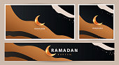 Ramadan Kareem modern luxury design Set in modern art style. Abstract art hand drawn  background with golden sand dunes and shining moon against the night sky. Poster, cover, card, header for website