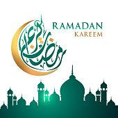 Ramadan Kareem moon Arabic calligraphy, template for banner, invitation, poster, card for the celebration Muslim community festival.