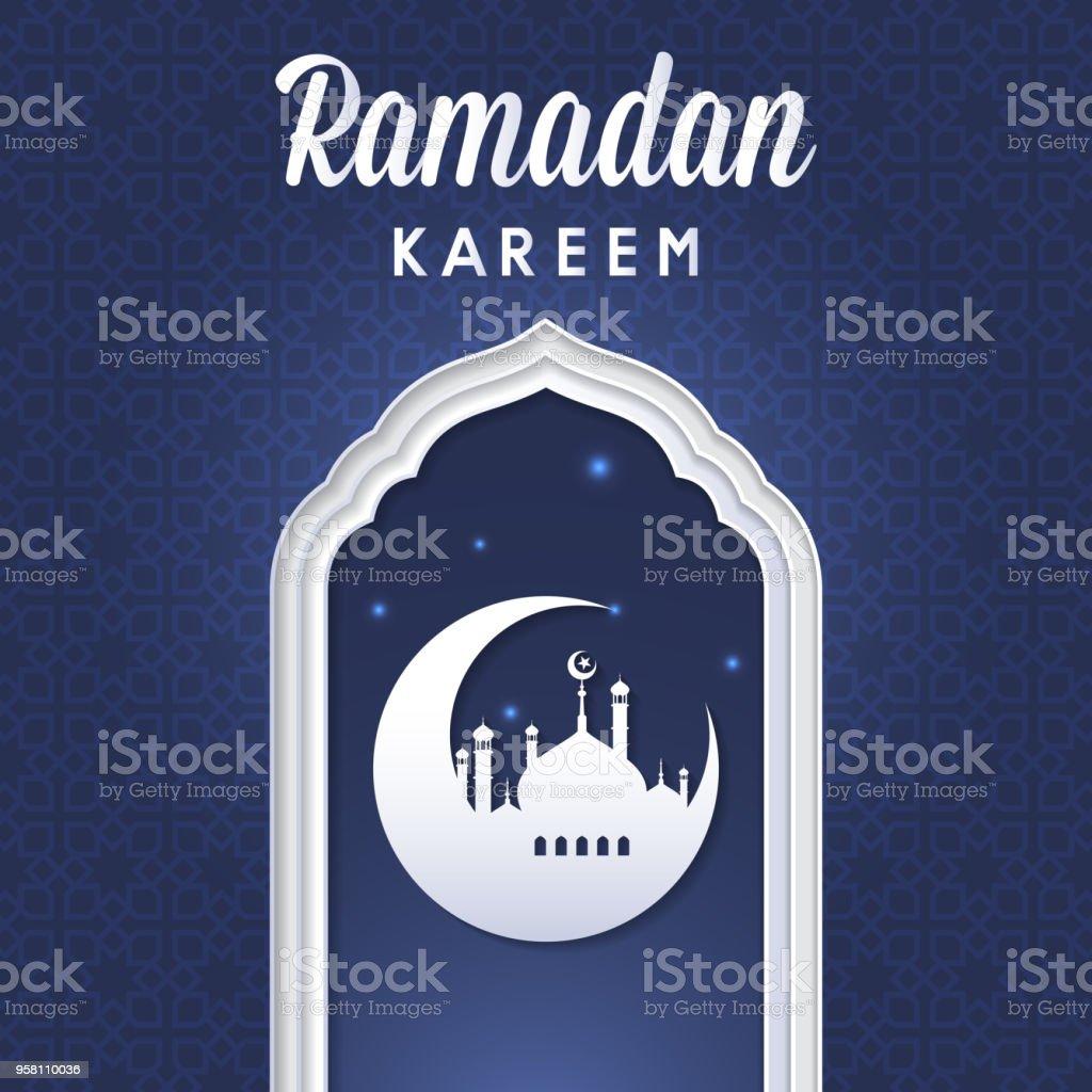 Ramadan Kareem Moschee Mond Nacht Sterne Glühende Vorlage Grußkarte ...