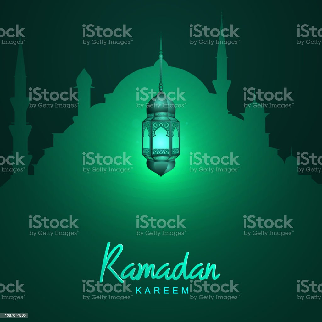Ramadan Kareem Mosque Silhoulette Greeting Template With Glow