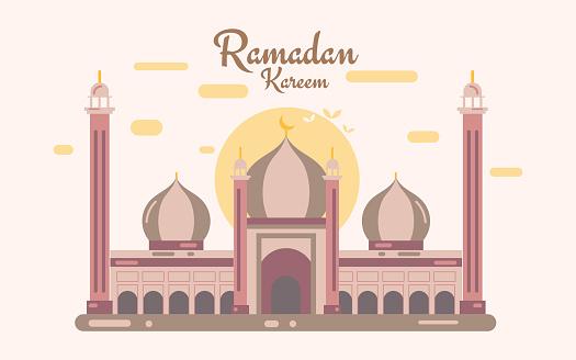 Ramadan Kareem Mubarak beautiful greeting poster card with Jama Masjid illustration