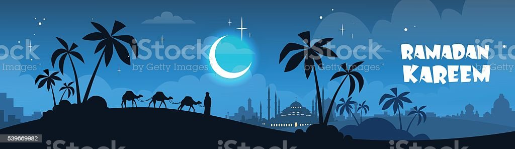 Ramadan Kareem Muslim Religion Holy Month vector art illustration