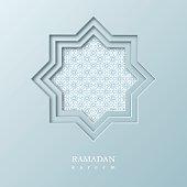 Ramadan Kareem octagon. Cut paper design with traditional style pattern. Vector illustration.