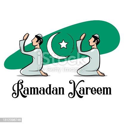 istock Ramadan Kareem or Ramadan Mubarak Vector Illustration. Crescent moon along with men praying to god. Islamic style graphic. 1312098746