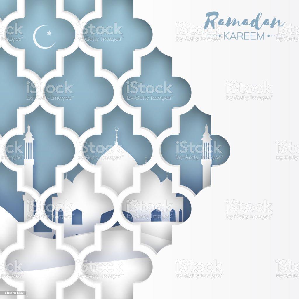Ramadan Kareem. Origami Mosque Window. Holy month vector art illustration