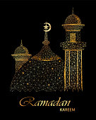 Ramadan Kareem beautiful greeting card with polygonal golden mosque. Usable for invitation, flyer. Vector illustration for holiday.