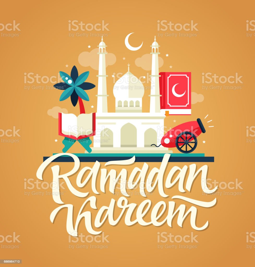 Ramadan Kareem - Postcard template with mosque, slamic culture icons vector art illustration