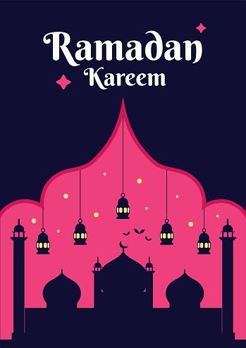 Ramadan Kareem poster design template, ramzan greeting card vector banner