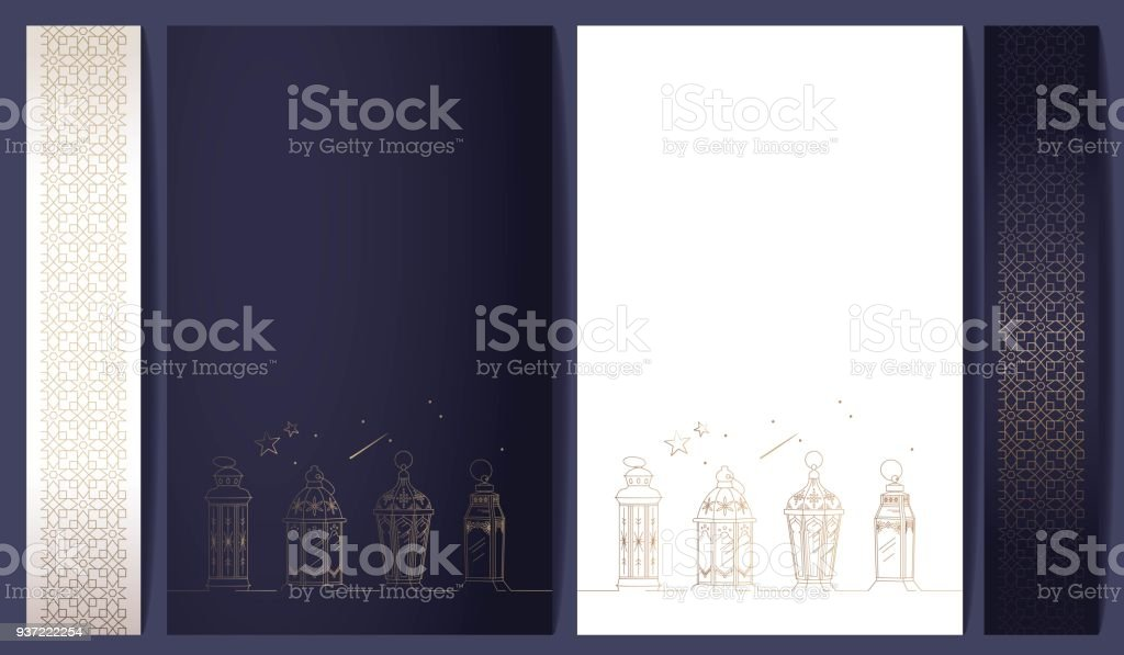 Ramadan kareem posters collection with golden pattern and lanterns. vector art illustration
