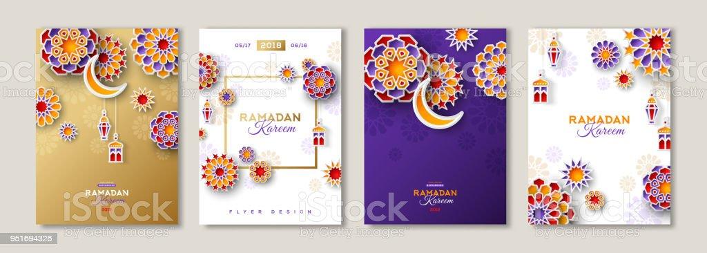 Conjunto de carteles de Ramadán Kareem - ilustración de arte vectorial