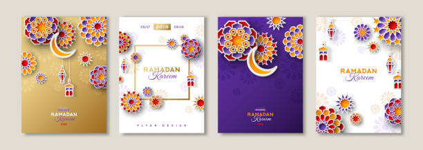 ramadan kareem posters set - ramadan stock illustrations, clip art, cartoons, & icons