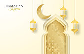 Ramadan Kareem ,Ramadan mubarak background. Design with  moon,  lantern golden on soft background ,light and shadow. paper art style. Vector.