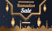 Ramadan Kareem sale offer banner design with ornament lantern moon background for promotion poster, social media template, discount, gift, voucher, web header and banner, greeting card of eid Mubarak