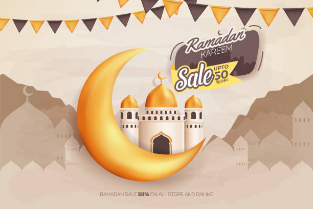 Ramadan Kareem Sale upto 50% Vector Banner ad design vector art illustration