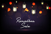 Vector illustration of Ramadan Kareem sale with hanging lantern
