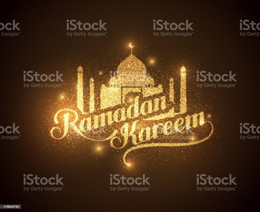 Ramadan Kareem shiny label vector art illustration