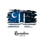 Ramadan Kareem. Silhouette of a mosque on a sacred night. Vector illustration.