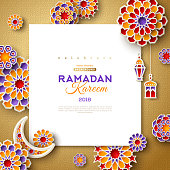 Ramadan Kareem concept with square frame and 3d paper cut islamic lanterns, stars and moon on gold background. Vector illustration. Place for text.