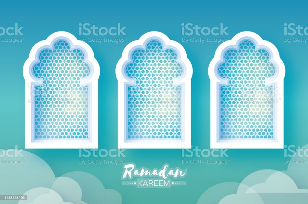Ramadan Kareem. Three 3 Origami Mosque Window. Holy month. Paper cut Cloud. Space for text vector art illustration